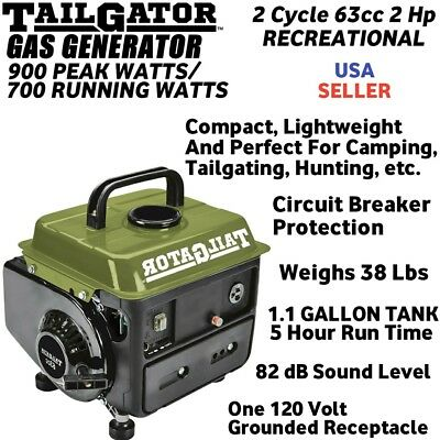 Tailgator 2 Cycle Recreational Gas Generator 900 Peak/ 700 Watt Running 2HP 63cc