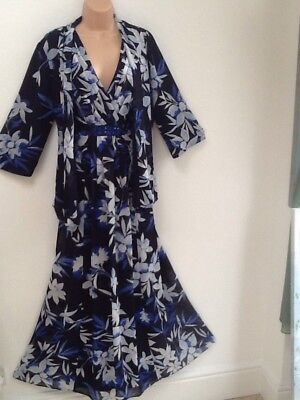 Jacques Vert Size 14 Beautiful Full Length Floral Dress & Jacket In Blues
