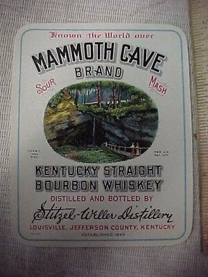 RARE 1940s-50's MAMMOTH CAVE BRAND KENTUCKY STRAIGHT BOURBON WHISKEY LABEL