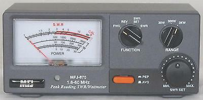MFJ 870 HF G MASTER SWR / POWER METER 1.6-60 MHZ  30-3KW  power HAM CB 2 WAY