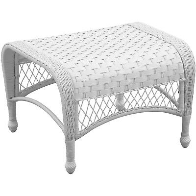 Mainstays Willow Heights All-Weather Wicker Ottoman White