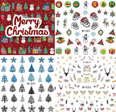 Adesivi NATALE-Decorazione Unghie-Nail Art Water Transfer Stickers CHRISTMAS