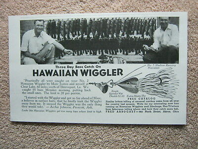 Vintage 1941 Fred Arbogast Hawaiian Wiggler Fishing Lure Archie Johnson Print Ad