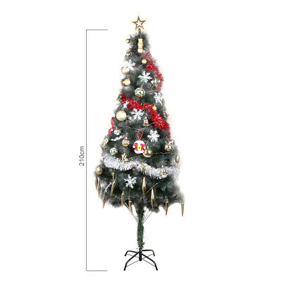 2.1m Deluxe Artificial Christmas Tree Xmas Decoration 360 Tips with Metal Stand