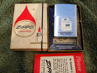 1964 Vintage New Old Stock ZIPPO LIGHTER VESTA STOVE Unfired with Box Papers