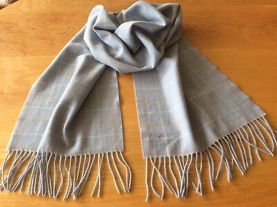 Women's Johnstons Of Elgin Scotland Blue Check Scarf Merino Wool / Cashmere NWT