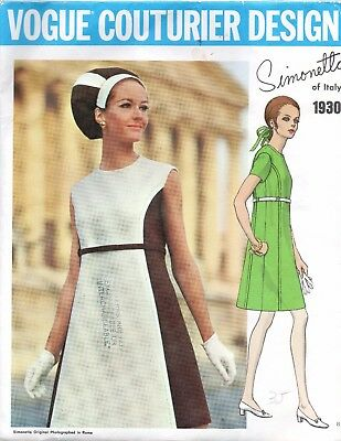Vogue Couturier Design Sewing Pattern 1930 Simonetta Retro 1960s Women's Dress