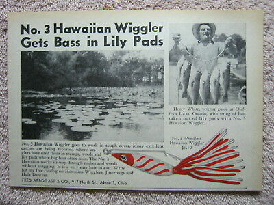 Vintage 1947 Fred Arbogast Hawaiian Wiggler Fishing Lure Henry White Print Ad