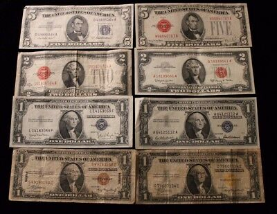 Old United States  $5 silver/ Note,$2 Notes $1silver $1 War