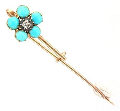 Antique Georgian Gold Diamond & Turquoise Flower / Comet Brooch Pin Circa 1830s