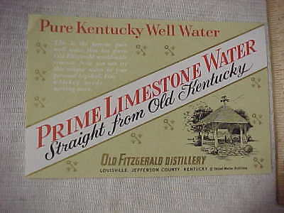 Rare Prime Limestone Water Pure Kentucky Well Water Old Fitzgerald Label