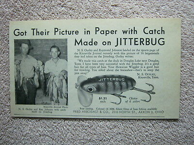 Vintage 1947 Fred Arbogast Jitterbug Bass Fishing Lure N. S. Ousley Print Ad