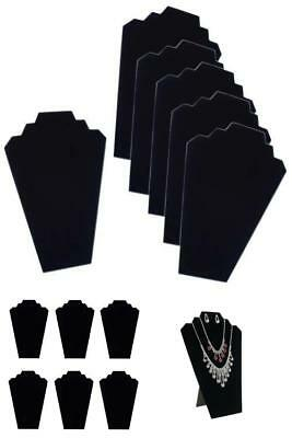 6 Necklace Display Stands Holders Cards Black Velvet Jewelry Organizer For Shops