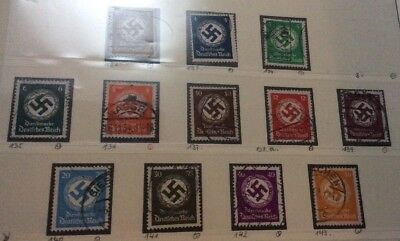 DR Germany 1934 Officials Stamps  Swaztika Watermark Fine Used