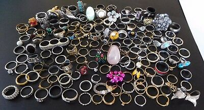 Huge Vintage Rings Lot Some Crystal Rhinestone Gold Plated #470R