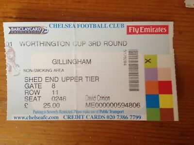 MATCH TICKET - CHELSEA V GILLINGHAM League Cup Round 3 2002/3