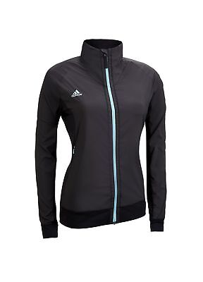 Adidas Ladies Clima Proof Full Zip Golf Jacket Black/Cyan Small