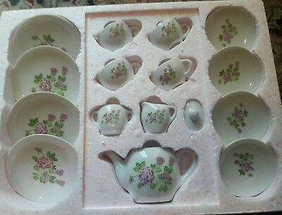 NEW in Box NOS VTG CHILD'S 16 PC Toy PINK ROSES China Tea Set F.W. WOOLWORTH Co.