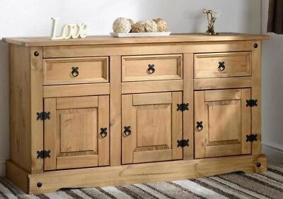 Corona Mexican Solid Pine 3+3 Sideboard Buffet Rapid Delivery