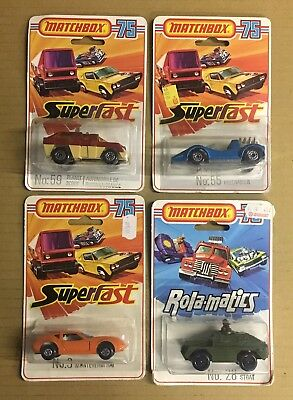4 1970's/early 80's Matchbox Superfast Diecast Cars In Blister Packs
