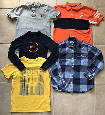 Nice Lot of Boys Shirts Ralph Lauren Nautica Quicksilver Nike Old Navy Size 8