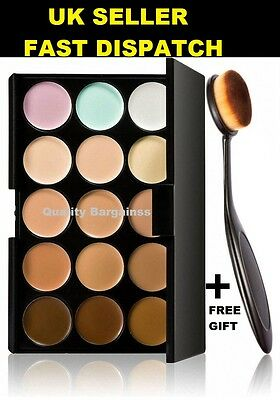 15 Color Concealer Face Makeup Contour Cream Palette + Oval blending Brush FREE*