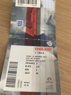 USED TICKET: England v Chile 15th November  2013  No Reserve.