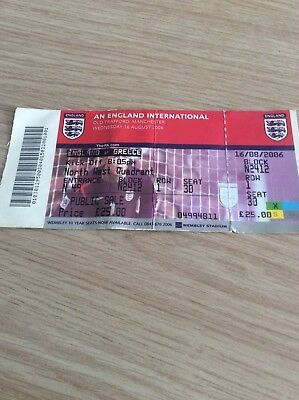 USED TICKET: England v Greece 16th August 2006 . No Reserve.