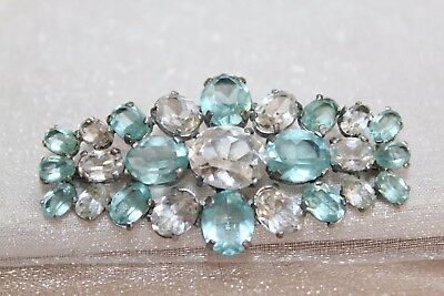 SPECTACULAR Art Deco TEAL & CLEAR Crystal Paste Brooch