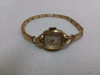 1950s vintage elgin womens watch with hearts on the bezel not working 10K RGP