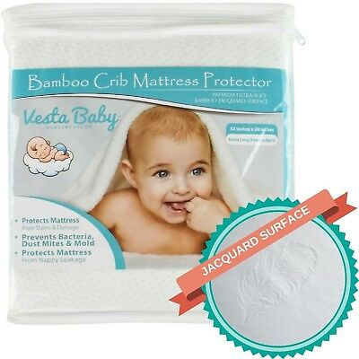 Vesta Baby Premium Ultra Soft Bamboo Jacquard Crib Mattress Protector Fitted ...