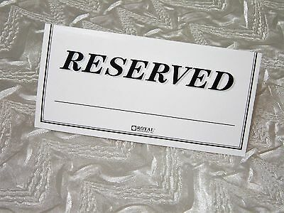 """Set of 10 """"RESERVED"""" Paper Table Top Tent Sign 6x3 Double Sided Ten Pack NEW NR"""