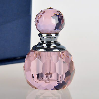 Vintage Pink Crystal Perfume Bottle Cute Small Mini Glass Bottle Lady Gift HOT