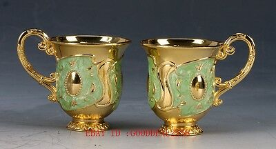 Collectible Decorated Cloisonne Carved Flower Cup QW00255