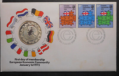 United Kingdom 1973 European Economic Commumities PNC with Silver Medal