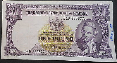 New Zealand 1 Pound  Note Flemming  Thread NICE good grade