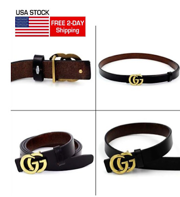 0.9″ Wide Womens Genuine Leather Thin Belts With Fashion Letter Buckle For Jeans