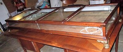 Antique Walnut Wood Large Lighted Display Glass Show case signed brass claw feet