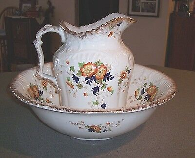 "Vintage Wash Basin & Pitcher John Maddock & Sons England Royal Vitreous ""LOUISE"""