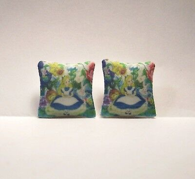 Miniature Throw Pillows Alice in Wonderland Vintage Design Dollhouse Diggs 1:12