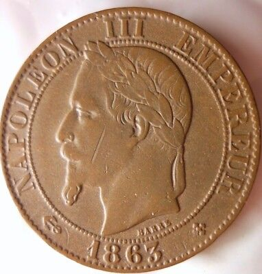 1863 BB FRANCE 5 CENTIMES - Rare Type - High Grade Coin - Lot #119