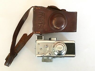 Vintage 1950s Steky Subminiature Spy Camera w/Case uses 16 mm Film Made in Japan