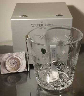NEW WATERFORD CRYSTAL SNOWFLAKE WISHES ICE BUCKET w/TONGS ~ NEW IN BOX