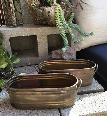 Hosley Solid Brass Med Oval Planter/Bowl Set (2) Handles Stripe Detail 8 x 3 x 4