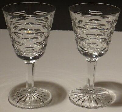 "2 Vintage Waterford Crystal Tralee Wine Glasses ~ 6 3/4"" ~ Ireland"