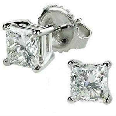Vs 2 Carat Princess Natural Diamond Stud Post Screwback Earrings 18K White Gold