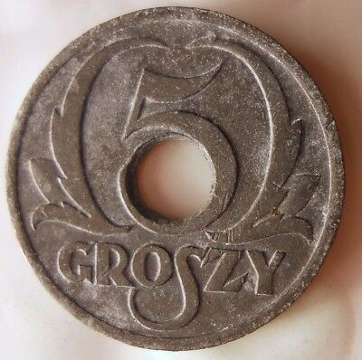 1939 POLAND 5 GROSZY - VERY RARE VERSION - Great Coin - Lot #119