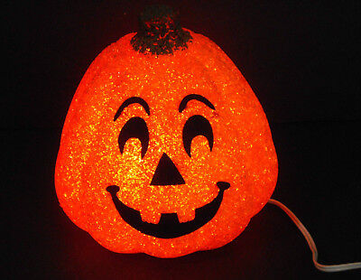 "Seasons Halloween 7 3/4"" Jelly Poly Gel Orange Pumpkin Jack O Lantern Electric"