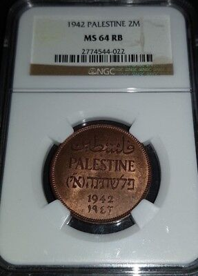 Palestine 2 Mils 1942 NGC MS-64RB Very Nice Coin High Ggade