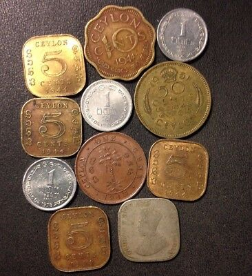 Old Ceylon Coin Lot - 1920-PRESENT - 11 Scarce Vintage Coins - Lot #119